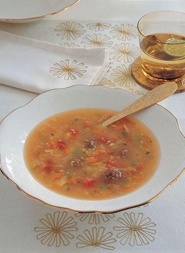Frike with Meat Balls and Vegetable Soup