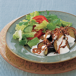 Eggplant topped with Garlic Yogurt