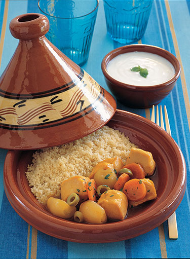 Chicken with Onions and Olives Tagine