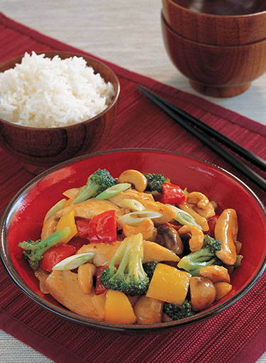 Chicken with Vegetables and Cashew Nuts Stir-Fry