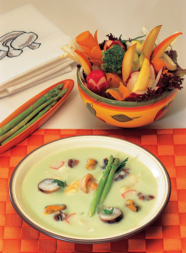 Seafood Asparagus and Coconut Soup