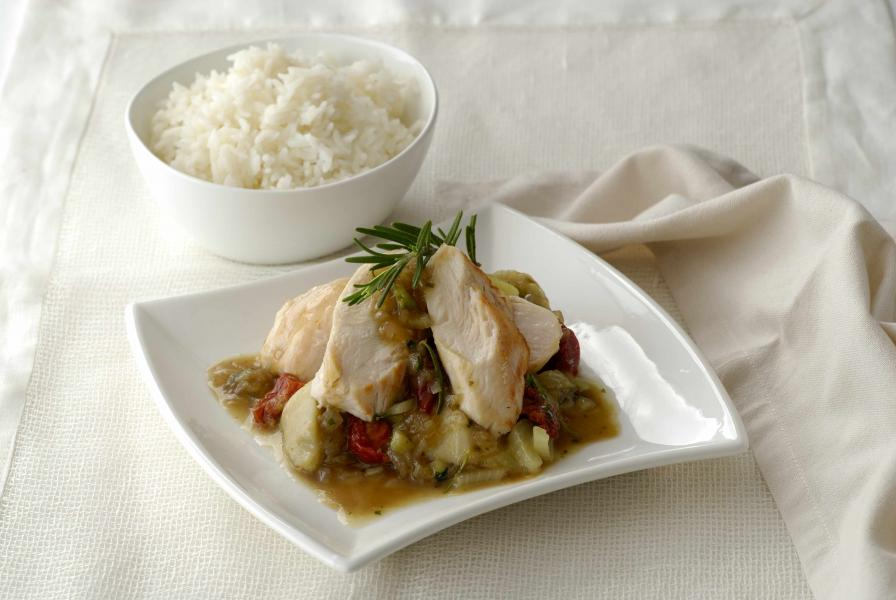 Braised Chicken Breast with Artichoke and Fennel