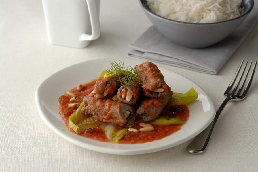 Beef Roulade with Raisins, Pine Nuts and Tomato Sauce