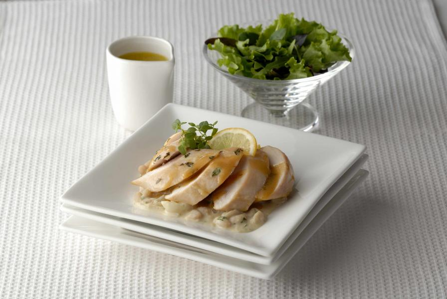 Chicken Breast with a Velouté of Turnips and White Beans