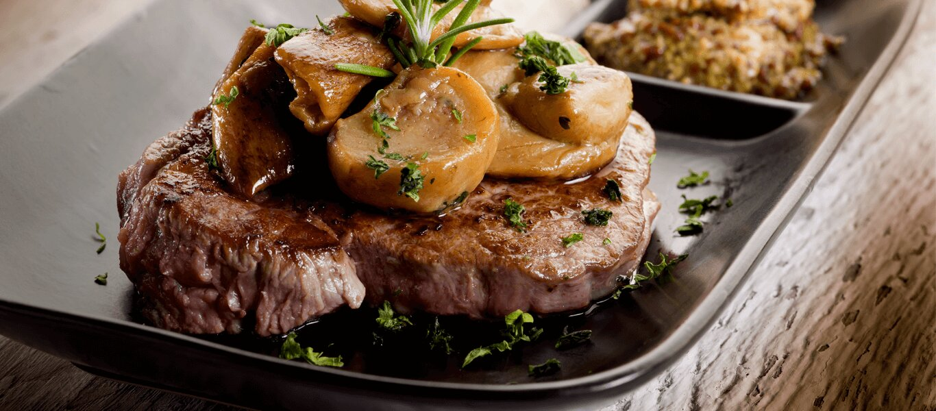 Beef Steak with Mushroom and Herbs Sauce