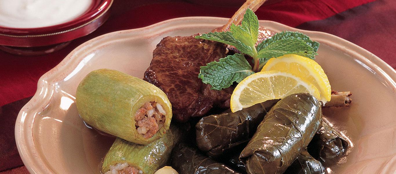 Stuffed Baby Zucchini and Vine Leaves with Lamb Chops