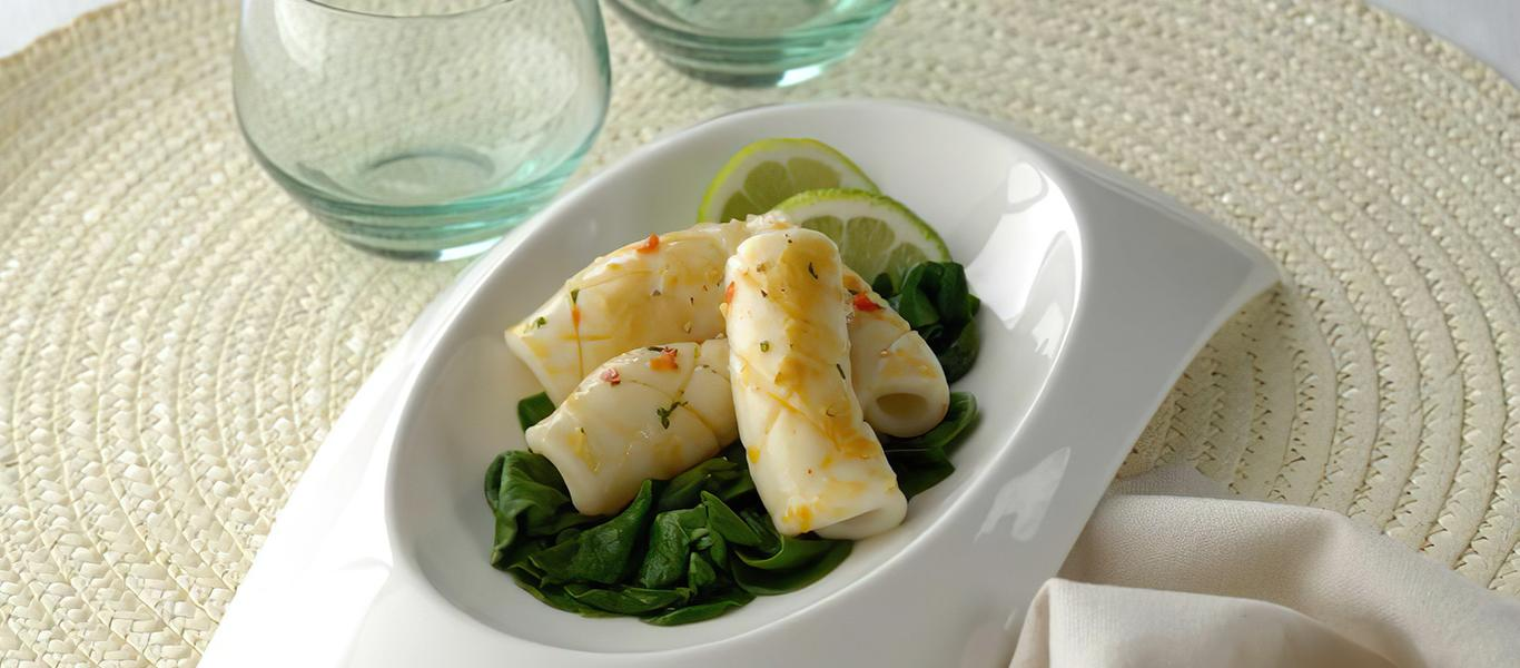 Grilled Squid with Wilted Spinach and Butter
