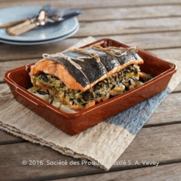 Salmon with Leek & Wild Rice Stuffing