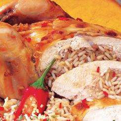 Roasted Chicken Stuffed with Rice