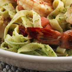 45606 Linguini with Almond Pesto and Grilled Prawns
