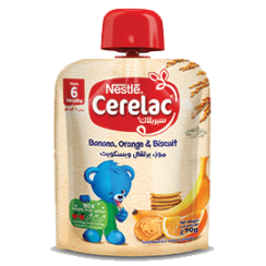 Nestlé® CERELAC Fruits Puree Pouch Banana Orange Biscuit 90g