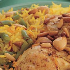 Roasted Chicken with Green Beans Saffron Rice