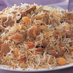 Saudi Rice with Meat and Chickpeas