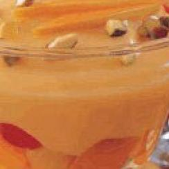 Mango Pudding with Fruit Cocktail