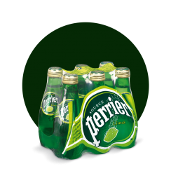 Perrier Sparkling Water, Lime, 200ml Glass Bottle (Total of 6)